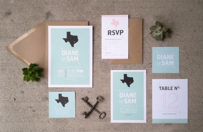 Texas pastels wedding invitations