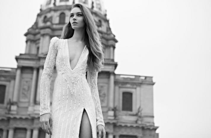 Daring beaded Berta wedding dress