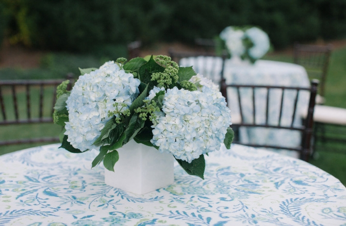 Sky blue hydrangea wedding centerpiece