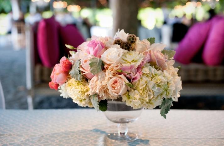Romantic wedding centerpiece ivory pink peach