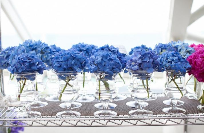 Monochromatic blue wedding bouquets