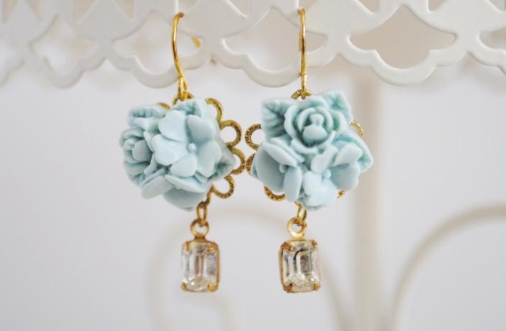 Pale something blue bridal earrings