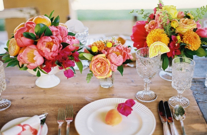 Bright peony wedding centerpieces