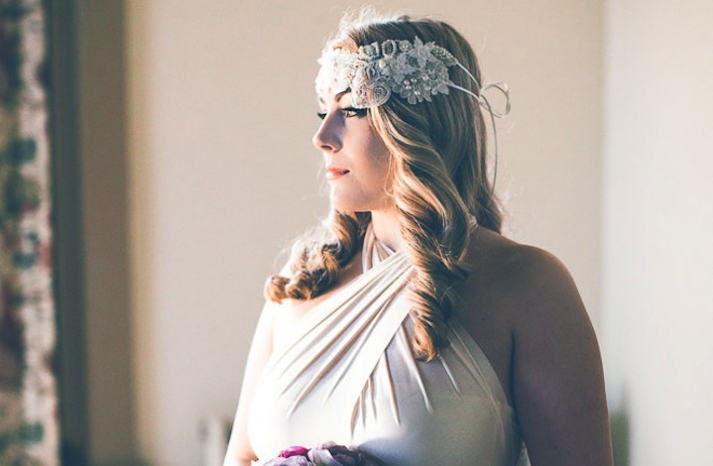 Crystal embellished floral wedding head wrap