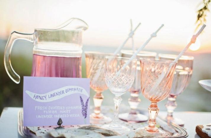 Romantic lavender wedding drink signs