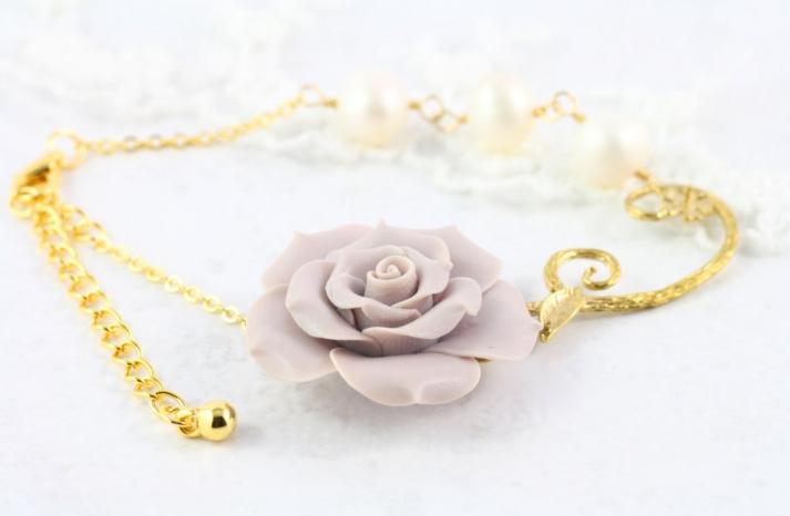 Gold and lavender rose bridal bracelet