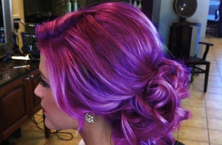 Offbeat wedding hair lavender updo