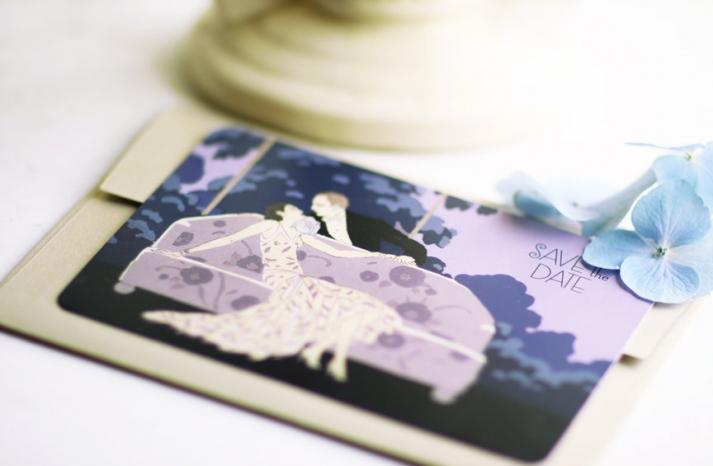 Art Deco lavender wedding save the date