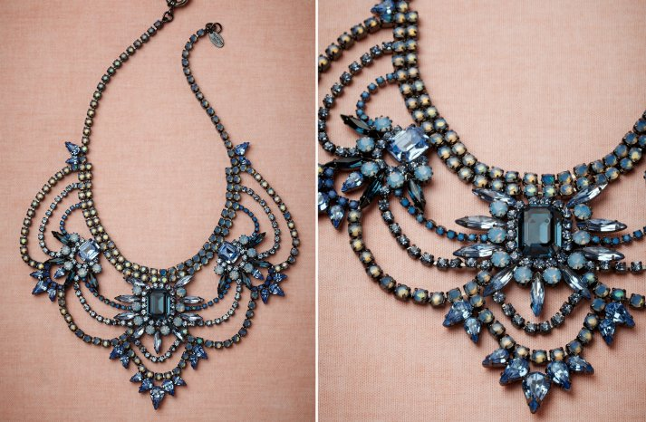 something blue statement wedding necklace by bhldn