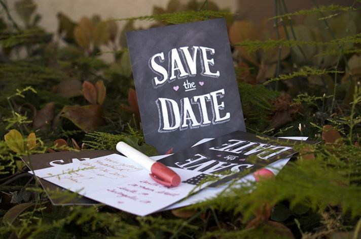 chalkboard save the date spotted by broke ass bride