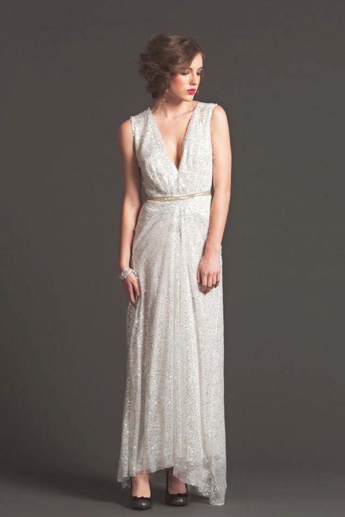Gold sparkle empire wedding guest dress