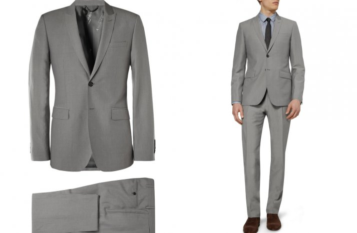 Gray burberry suit for grooms