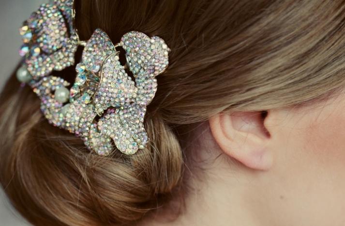 colorful crystal wedding hair clip
