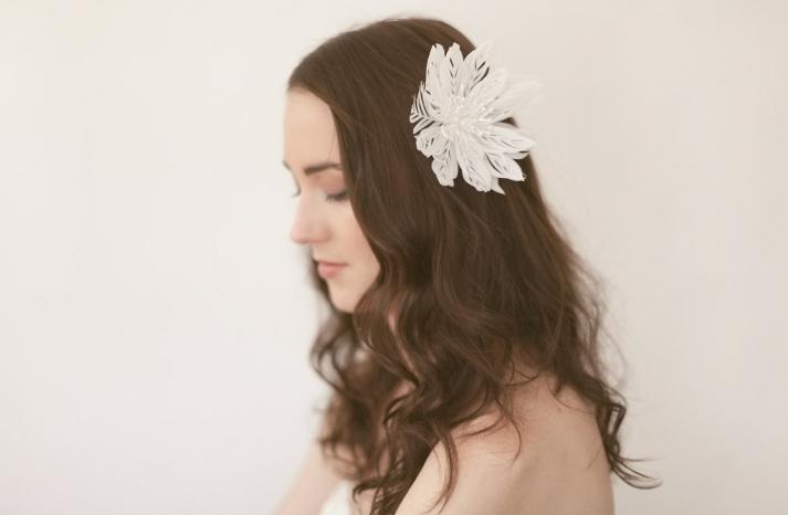 white lotus feather wedding hair flower