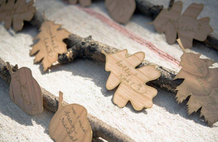 Simple wedding DIYs to try wood leaf escort cards