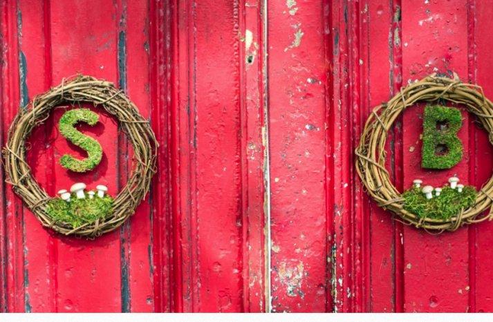 moss and mushroom DIY wedding wreaths