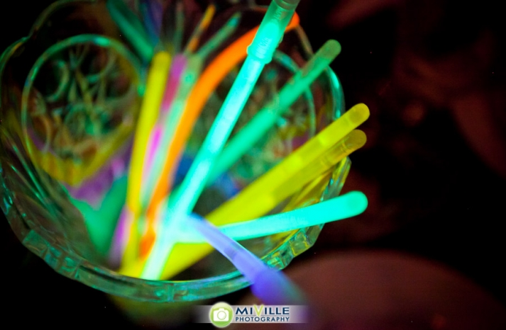 Glow in the dark colorful wedding straws