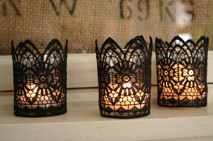 black lace candles wedding DIY