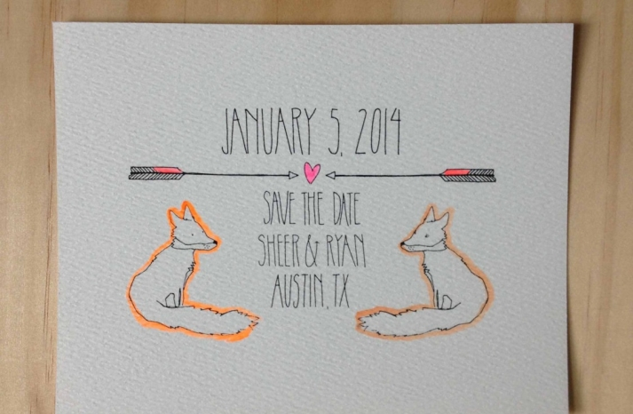 custom fox neutral neon save the date