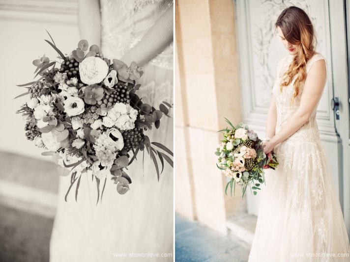 black and white romantic bridal portrait