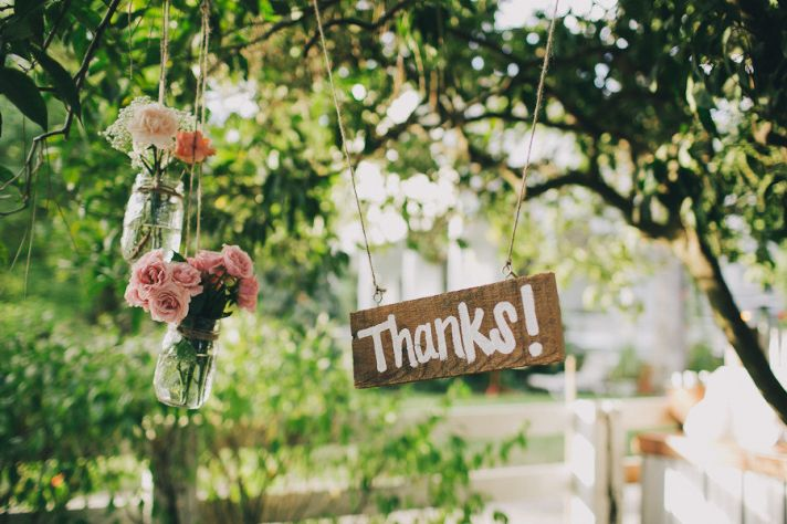 Rustic wood wedding sign to thank guests