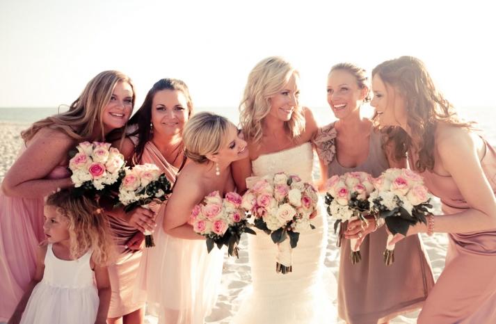 mauve mix and match bridesmaids beach wedding