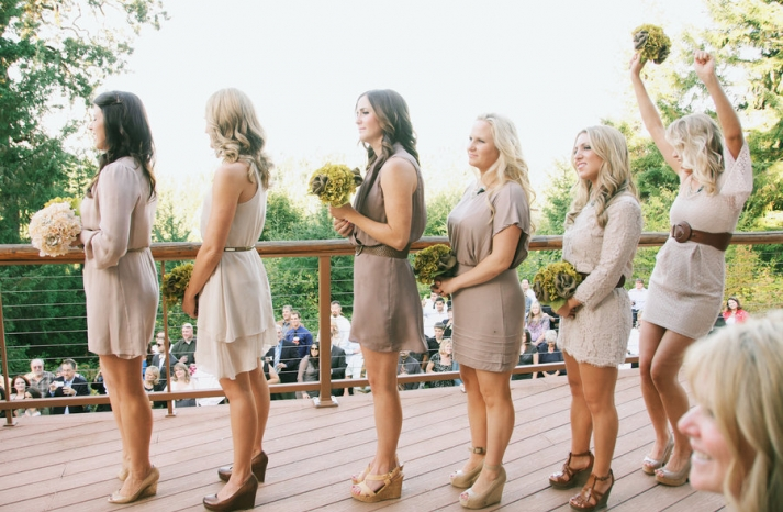 mix and match neutrals bridesmaid frocks