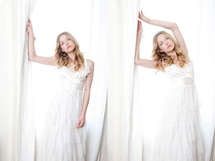 Holly Stalder handmade wedding dress white romantic empire