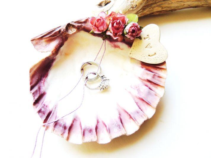 Whimsical seashell ring bearer dish with rosettes