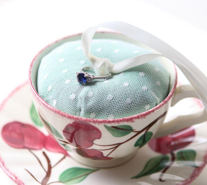 vintage floral teacup and saucer ring bearer dish