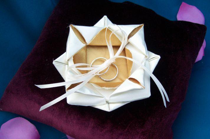 Origami lotus wedding ring bearer pillow