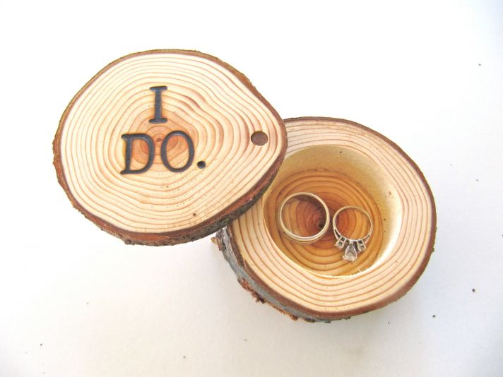 Rustic wood ring bearer box etched with I Do