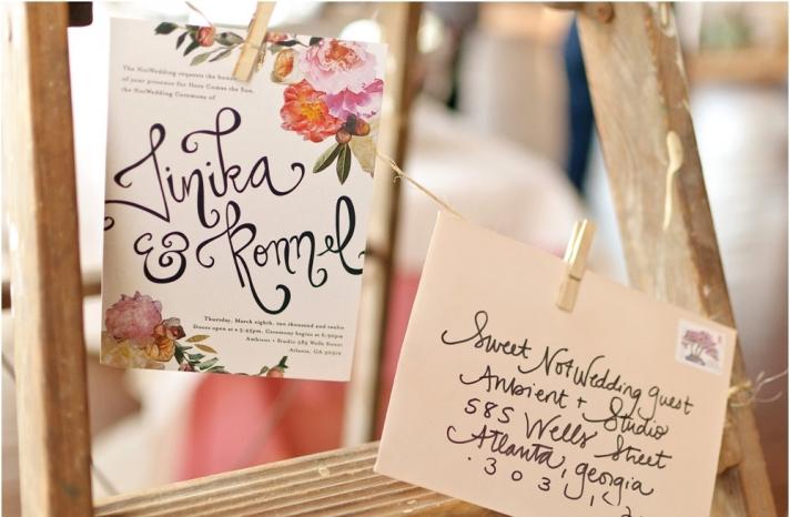 Romantic floral collage wedding invitation