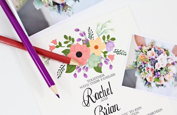 Custom floral wedding invitations summer pastels