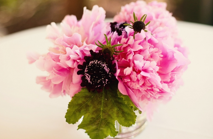 Bright petal pink simple wedding centerpiece