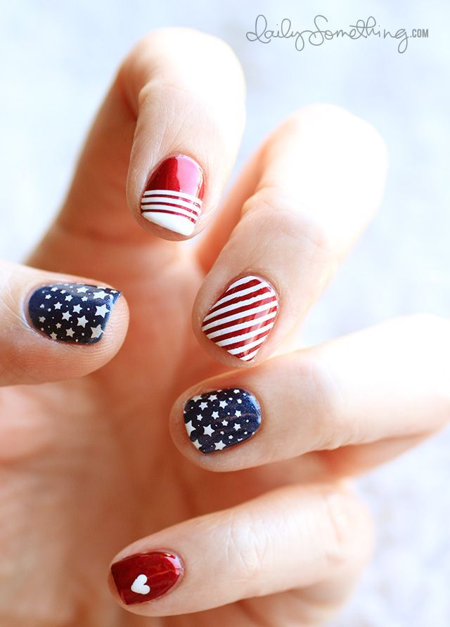 Patriotic DIY wedding manicure