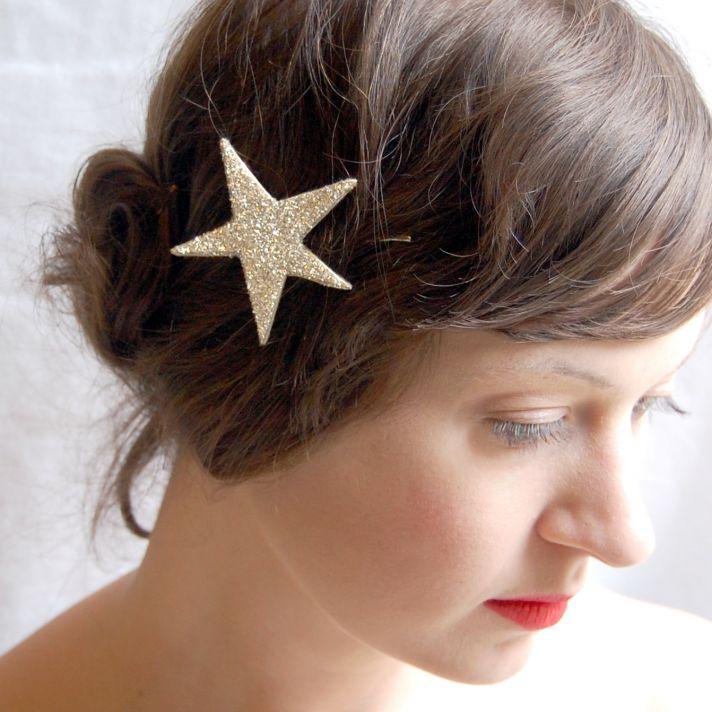 glittery star wedding hair clip