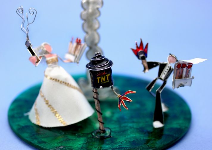 Funny fireworks wedding cake topper