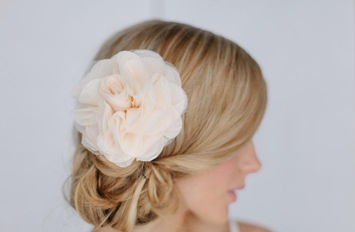 Pastel peach chiffon wedding hair flower