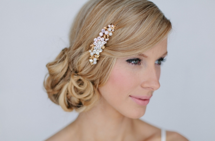 Copper blush and pearl wedding hair comb