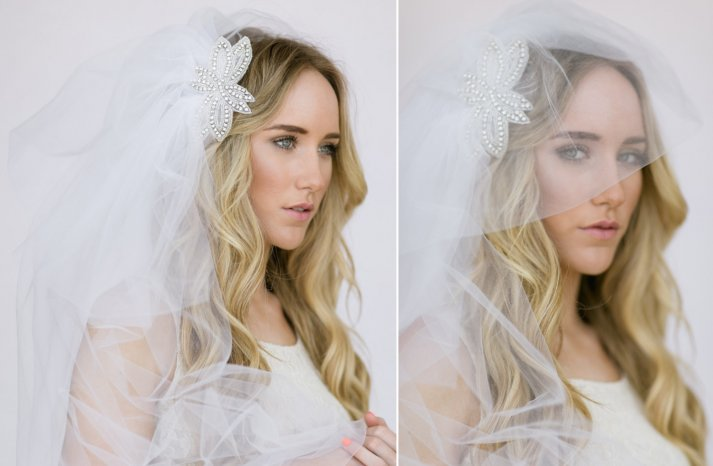 Full tulle wedding veil with crystals