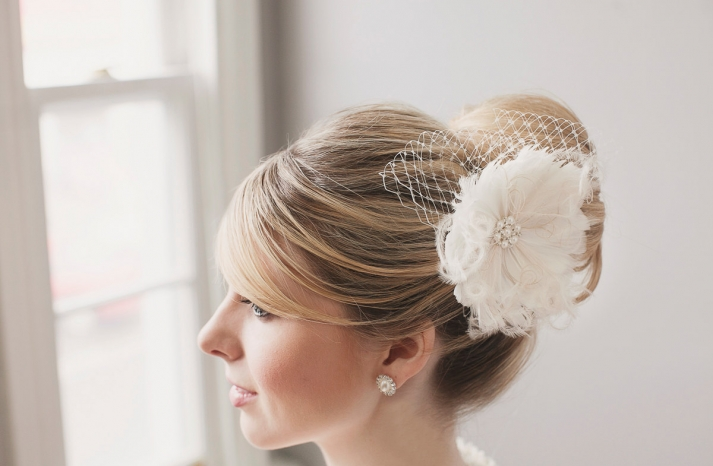Ivory feather flower with bridal blusher