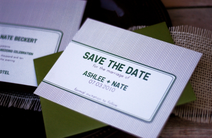 Modern striped wedding save the date olive white purple