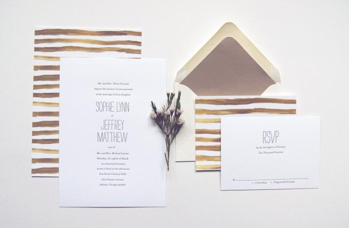 Handpainted stripes wedding invitations