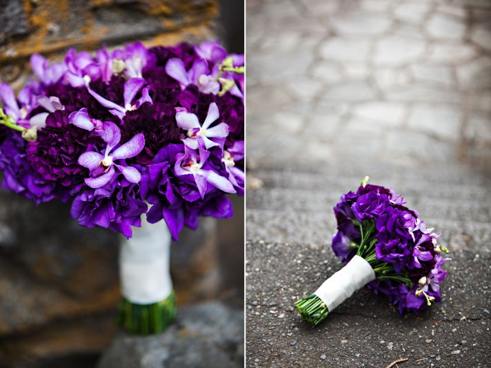 Bold purple wedding bouquet with tropical orchids