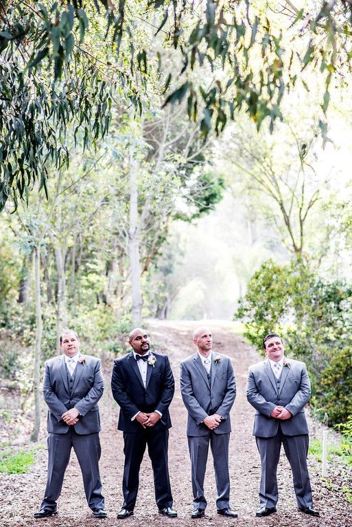Romantic San Diego Wedding in Summer Groomsmen in Gray