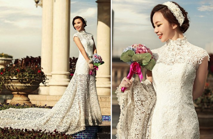 Ivory cap sleeve lace wedding dress with long train
