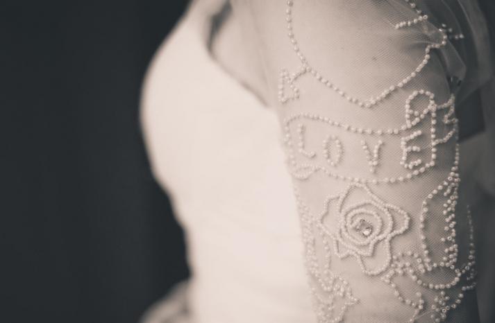 Sheer tulle wedding dress sleeves beaded with Love