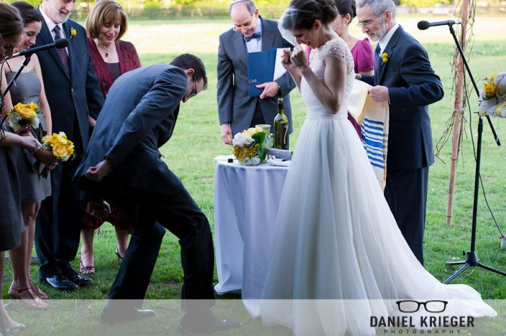 Outdoor Jewish wedding ceremony stomping the glass