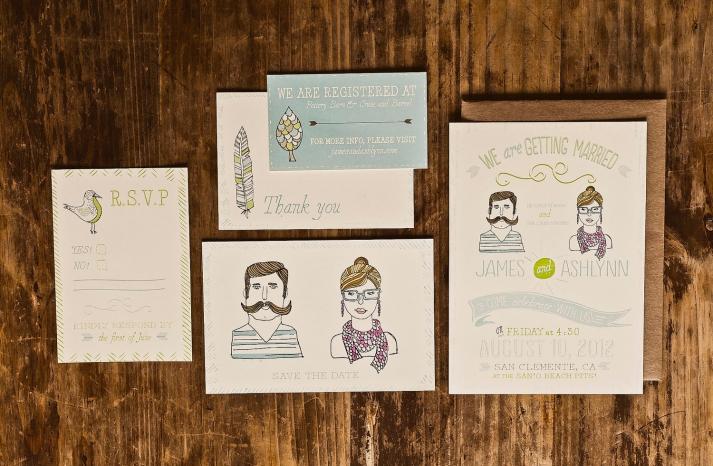 hipster wedding invitation suite vintage illustrated